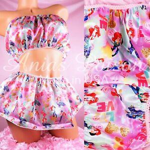Purple Soft Stretch Shimmer Satin Sissy Bikinis panties Mini Skirted Waist S//M