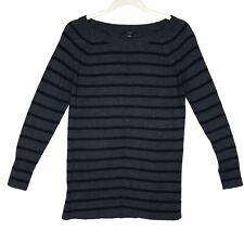 Ann Taylor Black & Charcoal Gray Striped Pullover Sweater Women's Petite Medium