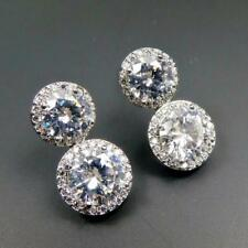 Shiny Silver Rhodium Plated Sparkling Clear Cubic Zirconia Round Drop Earrings