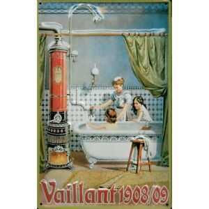 VAILLANT 1908/09 WATER HEATER BOILER  EMBOSSED 3D METAL ADVERTISING SIGN 30x20cm