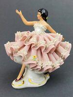 "Sandizell ""Dresden"" Porcelain BALLERINA Pink Lace FIGURINE West (W.) Germany"