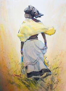 TITTA FASCIOTTI-Italian/South African-Original Signed Mixed Media-African Woman