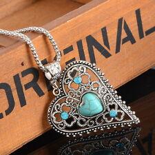 PD: Boho Halskette mit Hohl Herz Türkis Anhänger Silberkette Blau Strass 46.5cm