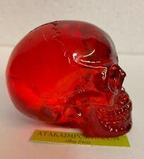 "2"" Tall Red Translucent skull Figurine Statue Halloween Decoration"