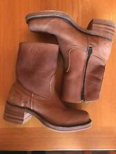 FRYE Women Campus Short Riding Motorcycle Boots zip Brown Leather Size 6 M