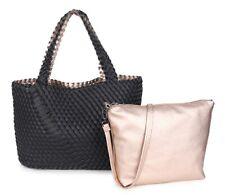 Black & Gold XL Bag Shoulder 2 Bags In 1 Reversible Lattice PU Leather Handbag