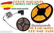 TIRA ADHESIVA 5 METROS LED SMD NARANJA 30LEDS/metro IP54  ALIMENTADOR incluido