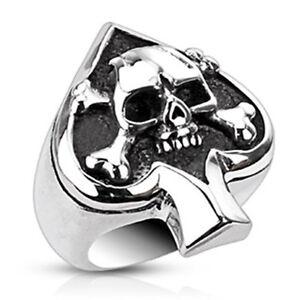 Totenkopf Ring Pik Ass Skull Edelstahl Massiv Biker Gothic Damen Herren silber