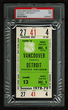 PSA 9 VANCOUVER 1978 Unused NHL Hockey Ticket for DETROIT at Pacific Coliseum