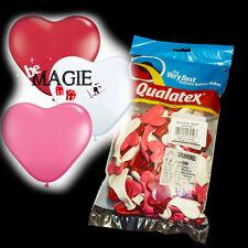 100 Ballons Qualatex COEUR - Rose Blanc Rouge - Sculpture - Magie