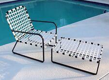 Vintage Brown Jordan Leisure Patio Mid Century Lounge Chair & Ottoman Refinished