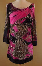 Joseph Ribkoff Fuchsia Pink Black Brown Cold Shoulder Sleeves Dress US 12 UK 14