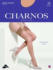 Charnos Sheer Lustre Gloss Hold Ups 15 Denier Plain Top Band Sheer Toes