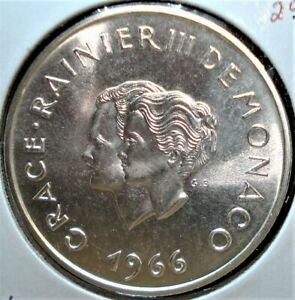 1966 Silver 10 Francs Coin from Monaco Commemorating the Royal Wedding