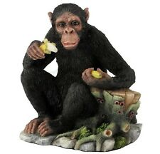"5"" Chimpanzee Eating Bananas Statue Wild Animal Home Decor Sculpture Figure"