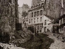 Eau-forte Imp. Beillet (XIX) Paris France rue soufflot St Hyacinthe St Michel