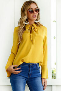 Fresh Bandage Bow Tie Collar Solid Blouse - Yellow
