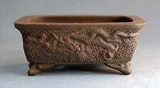 Tokoname Rect. Bonsai Pot with Dragon by Banryuhei, #ban30 : 98*80*H40mm