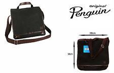Original Penguin Messenger Bag Con 2 Compartimientos Y Forrado Completamente Negro/marr ón