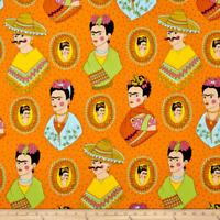 """Alexander Henry Fabrics Fantastico Frida Mexican Art Orange 1/2 Yd  18'X 44"""" New"""