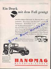 HANNOVER-LINDEN, Werbung 1930, Hanomag Limusine Kabriolett Differential