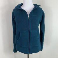 Patagonia Women's Fleece Hoodie Long-Sleeve Teal Sweater Full-Zip Jacket Size M