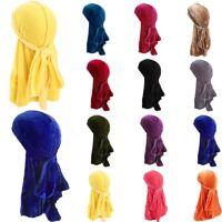 Unisex Men Women Breathable Bandana Hat Velvet Durag Long Headwrap Winter Cap