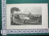 C1830 Antiguo Yorkshire Estampado ~ View Of Ayton Castillo