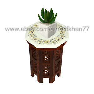 Inlay Side Table Top White Table for Plant Stand Mother of Pearl Florentine Art