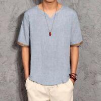 Mens Tops Cotton Linen Loose V-neck Short Sleeve Comfort Leisure T-shirts Retro