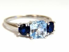 2.68ct natural vivid ice blue sapphire ring 14kt classic three+