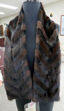 Gorgeous Natural Brown and Black Mink Fur Chevron Arrow Scarf