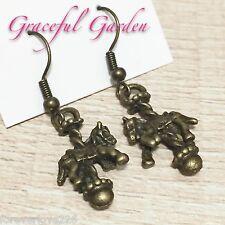ER2746 Graceful Garden Bronze Tone Carousel Horse Merry-go-round Dangle Earrings