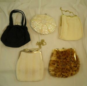 Lot of 5 Vintage Clutch Purses Beads Sequins Dyed Fur Navy Chain Strap MCM As Is