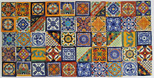 "50 pcs TALAVERA TILES 2 x 2"" mexican clay handmade folk art mix assorted designs"