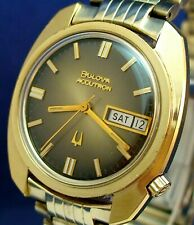 Bulova Accutron 2182 day/date RARE style GP & SS watch with original band 1973