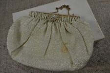 VINTAGE 1950s RFC gold lurex fabric evening bag/handbag IN ORIGINAL BOX diamante