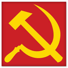 "Soviet CCCP Hammer and Sickle bumper sticker 4"" x 4"""