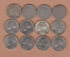More details for 12 usa five cents coins 1897 to 2002p in fair or better condition.