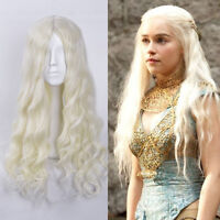Daenerys Targaryen Silver Queen Cosplay Wig Long Beige Natural Wave Full Wigs