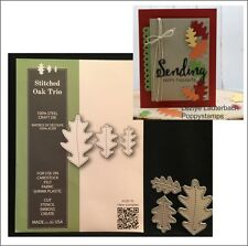Stitched Oak Trio metal die Poppystamps cutting dies 1915 Autumn leaf leaves