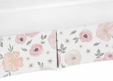 Baby Crib Skirt Dust Ruffle For Sweet Jojo Watercolor Floral Girl Pink Bedding