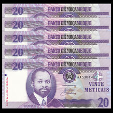 Lot 5 PCS, Mozambique 20 Meticais, 2006, P-143, AA prefix, UNC, 1/20 Bundle