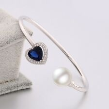 Heart ANTIQUE sapphire & white pearl bangle lady  18K white gold filled bracelet