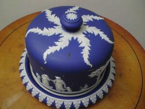 19th century Victorian Wedgwood blue Jasperware Stilton Cheese Dome Dish rivets