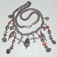 Vintage Ethiopian Coptic style birds ethnic tribal dangles silver tone necklace