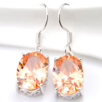 Woman Natural Shiny Oval Cut Honey Morganite Gems Silver Dangle Hook Earrings
