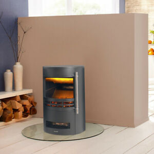 Barrel Fire Electric Fireplace LED Flame Curved Freestanding Stove Heater Warmer