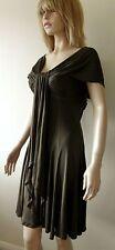 Amanda Wakeley Designer Brown 100% Silk Jersey Prom Dress Cocktail Dress Size 12