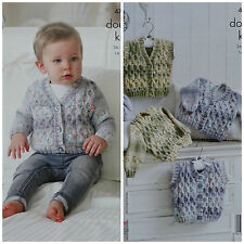 KNITTING PATTERN Baby Long Sleeve Cable Cardigans & Waistcoats King Cole DK 4798